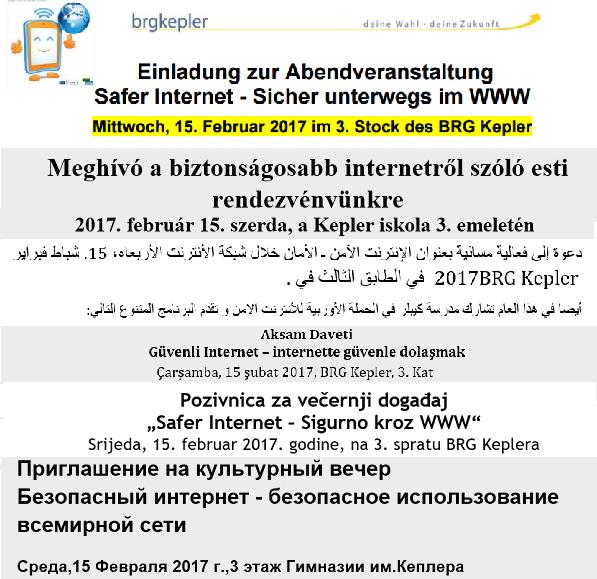 Ausschnitte aus den mehrsprachigen Einladungen zum Safer Internet Abend am BRG Kepler